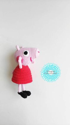 Crochet Peppa Pig  handmade cute cotton soft baby by SugarCarousel