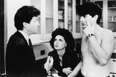 """David Lynch, Isabella Rossellini and Kyle MacLachlan on the set of """"Blue Velvet"""" (1986)"""