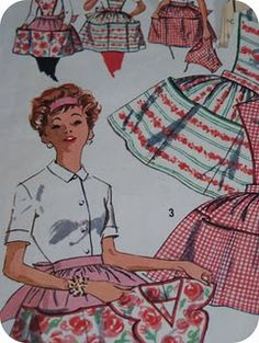 This was the apron pattern I used as my first major sewing project in Home Ec. I in high school in 1960.  The teacher also required us to embroider our names on the apron skirt.