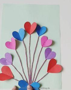 Craft Work For Kids, Hand Crafts For Kids, Valentine Crafts For Kids, Diy Crafts To Sell, Valentines Day Cards Diy, Valentine's Cards For Kids, Beautiful Handmade Cards, Flower Crafts, Paper Crafts