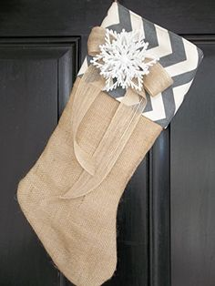 Burlap and Gray Chevron Christmas Stocking with snowflake | Christmas Stockings Gray -- Check this awesome product by going to the link at the image. (This is an affiliate link)