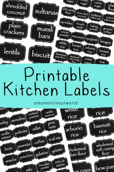 Kitchen Labels There are two types of labels: large and small Large includes: plain flour, self-rais Kitchen Labels, Pantry Labels, Canning Labels, Canning Recipes, Kitchen Pantry, Kitchen Ideas, Spice Jar Labels, Spice Jars, Organizing Labels