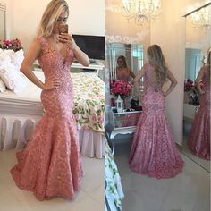 New Style Lace Appliques Prom Dress,Pink Mermaid Prom Dress,Sexy V Neck Lace Prom Dress,Long Evening Dress 2016 Sleeveless,Formal Party Dress,Dress For Prom ,