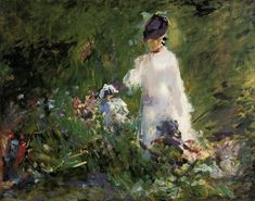 Young woman among the flowers, 1879, Edouard Manet Medium: oil on canvas