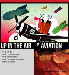 Episode Up in the Air - The Aviation: A cocktail celebrating the amazing advent of manned aircraft in the early century Classic Cocktails, Advent, Aviation, Aircraft, History, Amazing, Glass, Drinkware, Plane