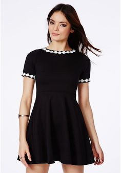 Kreta Black Crochet Daisy Trim Skater Dress - dress for pear bodyshape #pearbody