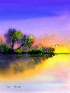 Yellow light, watercolor by Kim Attwooll