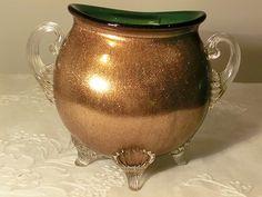 - Harrach Copper glass vase with handles. Copper Glass, Antique Glass, Glass Collection, Art Nouveau, Glass Vase