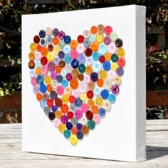 Button Heart Canvas - Incl P&P - Going to do something like this but with rhinestones! Informations About Button Heart Canvas – Inc - Crafts To Make, Fun Crafts, Arts And Crafts, Button Crafts For Kids, Crafts With Buttons, Theme Carnaval, Cadeau Parents, Heart Canvas, Heart Art