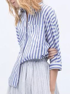 Blue Stripe Pocket Ripped Hem Side Slit Long Sleeve Shirt   abaday