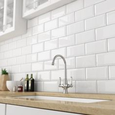 Victoria Beveled Edge Metro Gloss White Wall Tiles   20 X 10cm (Pack Of 50