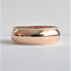 Womens 6 mm Wide Wedding Band with Beaded Edge Solid 14K