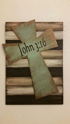 Pallet Signs....cross  John 3:16