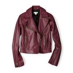 #Fossil Leather Motorcycle Jacket in Raisin