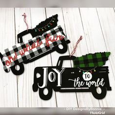 Chalk Couture transfers buffalo plaid, Joy to the World and Oh What Fun with Chalkology paste Dollar Tree Christmas, Christmas Truck, White Christmas, Chalk Crafts, Chalk Talk, Mini Canvas Art, Joy To The World, Craft Sale, Buffalo Plaid