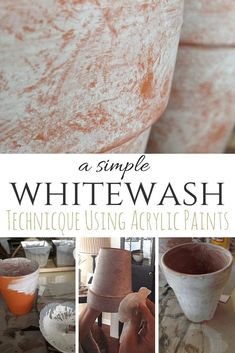 Whitewashing is such a classic, time-worn look and looks great every season. Get the look in just a couple of easy steps! By SnazzyLittleThings. Terracotta Flower Pots, Plastic Flower Pots, Whitewash Paint, Painted Clay Pots, Pot Jardin, Clay Pot Crafts, Diy Crafts, Using Acrylic Paint, Do It Yourself Home