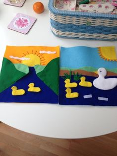 Quiet book five little ducks go swimming one day...they all Velcro off so they can go over the hills and far away