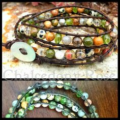 Triple wrap gemstone bracelet on genuine brown leather  Peridot,  Smoky Quartz,  Citrine,  Unakite,  Picture Jasper,  Dalmatian Jasper -  Energy and Vitality,  Abundance and Prosperity are the intentions with this gorgeous piece :)   $69AUD Free Post within Australia