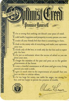 The Optimist Creed Law Of Attraction Pinterest The border=
