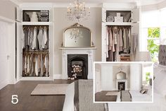 built ins in alcoves around a fireplace in a period home with tall ceilings