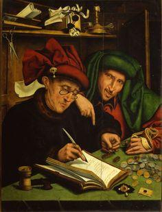 """""""Banqueiros"""", de Marinus van Reymerswaele"""