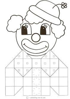 * Druk de clown af op verschillende kleuren papier plastificeren laat er mozaïek figuren op leggen!