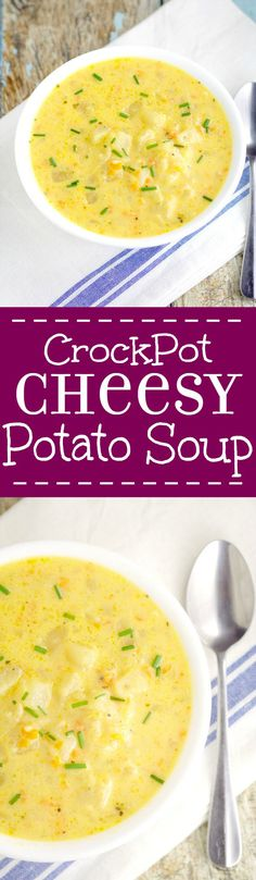 Crockpot Cheesy Potato Soup recipe is a warm classic potato soup recipe with tender potatoes, gooey cheese, and lots of creamy flavor. Serve with warm crusty bread for the perfect dinner. Mmm... Looks amazing! Crock Pot Soup, Crock Pot Slow Cooker, Crock Pot Cooking, Slow Cooker Recipes, Crockpot Recipes, Dinner Crockpot, Classic Potato Soup Recipe, Classic Recipe, Cheesy Potato Soup