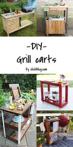 Awesome DIY grill cart and bar for your backyard (Hobbies To Try For Men) Outdoor Bar Cart, Outdoor Kitchen Bars, Outdoor Food, Outdoor Kitchen Design, Outdoor Decor, Outdoor Grilling, Outdoor Kitchens, Outdoor Stuff, Outdoor Cooking