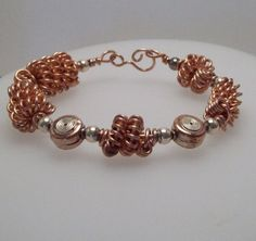 Mens Copper Cuff Hand Crafted Wire Beads Sterling Embelished Bead $75.00