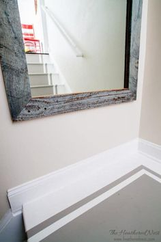 How to paint stairs. A DIY tutorial. INCREDIBLE stair makeover with PAINT! SO much cheaper than stain or new stairs! If you can hold a paintbrush, you can easily learn how to paint stairs! Painted Staircases, Painted Stairs, Wood Stairs, Wood Mirror, Diy Mirror, Old Wood Projects, Staircase Remodel, Staircase Makeover, Barn Wood Frames