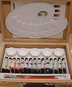 - Materiales para las acuarelas -  Materiales: Las acuarelas La pintura en acuarela puede encontrarse en dos calidades: para artistas y para estudiantes. Se diferencian en la superior calidad y precio de las pinturas para a