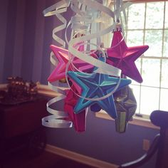 Use non-Christmas colors to decorate for Birthdays or any other occasion. Who says ornaments are just for Christmas?!