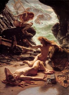 Edward John Poynter ~ Cave of the Storm Nymphs 1903-I have seen the original of this painting in a gallery that I displayed in. It's a very large work and is stunning in person.