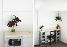 Cinder Block Table The Merrythought –probably paint the blocks black and the wood white. Ceiling Shelves, Wood Shelves, Shelving, Cinder Block Shelves, Cinder Blocks, Cinder Block Furniture, Ideas Prácticas, Decor Ideas, Apt Ideas