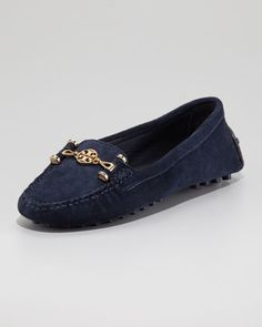 Daria Suede Driver, Navy by Tory Burch at Neiman Marcus.