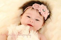 Shabby Chic Baby Flower Headband  by PetalnPearlBoutique on Etsy, $15.95
