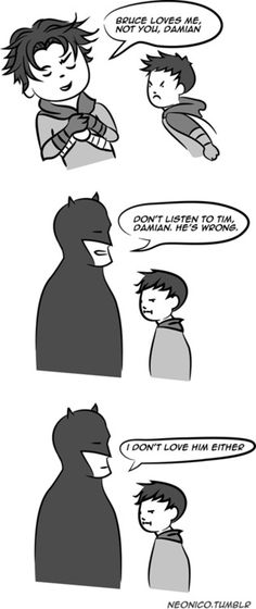 Batman clarifies his feelings for his Robins. <<--- I found this funnier than I should