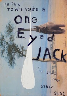 One of my favourite paintings of all time.  I want.  Please.  artgalleryofontario:  Julian Schnabel  In This Town You're a One Eyed Jack (I've See Your Other Side)  2005  oil, ink on polyester  342.9 x 241.3cm  Erni Collection  exhibition info