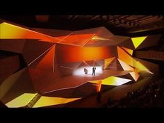 Conférence annuelle des innovations ORANGE lors du show HELLO! Stage Set Design, Design Show, Event Design, Digital Projection, Projection Mapping, Stéphane Richard, Orange Show, Event Branding, Origami Videos