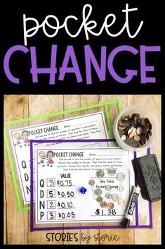 Pocket Change is a dice game that students can play independently to practice counting coin combinations. This would be a great activity for students to complete during math workshop while the teacher meets with a small group. There are three different versions included.