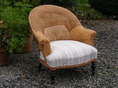 A Tub Chair circa 1880 with Ticking Seat. @SusanOsbourne  Height - 80cm Widht - 78cm Depth of seat - 52cm. SOLD