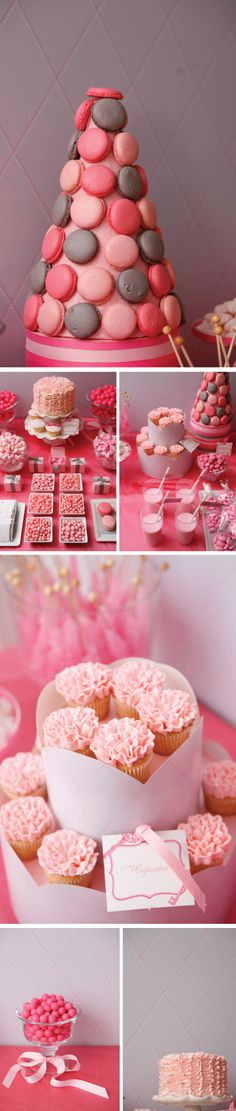 pink cake and cupckaes