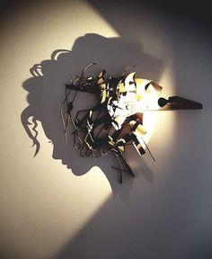 Shadow Art, Light Art, Light And Shadow, Face Art, Installation Art, Metal Art, Design Art, Art Projects, Contemporary Art