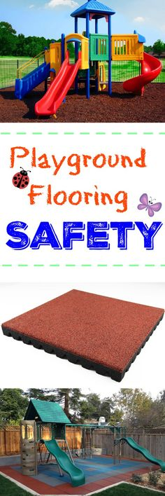 Keep playtime both safe and fun with our ultimate guide to playground flooring safety. Fall height safety ratings, other safety surface tips & more! Home Gym Flooring, Outdoor Flooring, Diy Flooring, Rubber Flooring, Flooring Ideas, Outdoor Toy Storage, Outdoor Toys, Outdoor Fun, Outdoor Playset