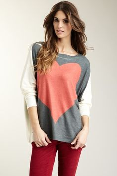 Like the sweater.    Heart Oversized Dolman Sweater by Go Couture on @HauteLook