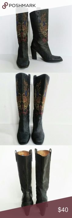"""Gianni Bini  Neal Cowboy Boots Gianni Bini black suede square toe boots with 3"""" heel and embroidered shafts. Like new. Great condition. Gianni Bini Shoes Heeled Boots"""