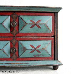 Aqua & Red Jewelry Box Chest Chalk Paint Handpainted Turquoise Red Black Italian Paper.  https://www.etsy.com/listing/82151456/folk-art-scrolled-corner-wall-shelf?utm_source=Pinterest&utm_medium=PageTools&utm_campaign=Share