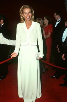 Was, and still is, one of my favorites for black-tie - Georgio Armani beaded top and a-line skirt - looks comfy too - added bonus...