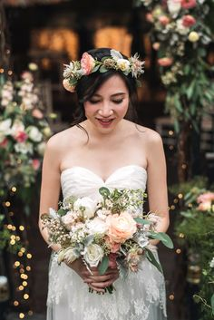 Pastel bridal bouquet and floral crown // A Midsummer Night's Dream: Sean and Dawn's Wedding, by Floral Magic