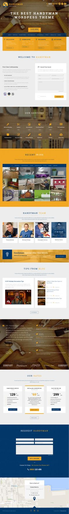 Handyman is popular One Page WordPress child theme for Layers. It is suitable for handyman, repairman, craftsman, plumber, electrician or any kind of service business websites. #website #design download now➯ https://themeforest.net/item/handyman-craftsman-business-wordpress-theme/12249679?ref=Datasata #DIYDude